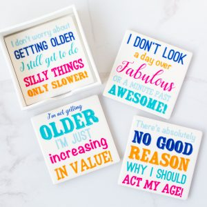 Ceramic Alcohol Slogan Coasters