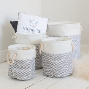 Set Of 4 White & Grey Textured Storage Bins