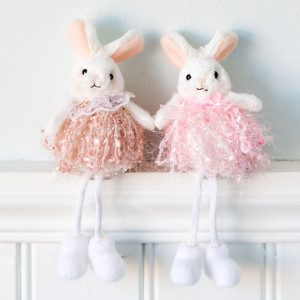 Set Of Two Pink Bunny Sitting Decoration