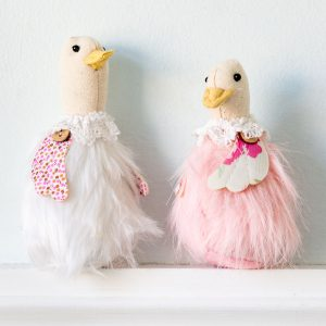 Set Of Two Pink & Cream Duck Hanging Decoration