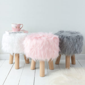 Grey, Pink Or White Fluffy Foot Stool