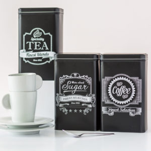 Black Tea, Coffee & Sugar Tin Set