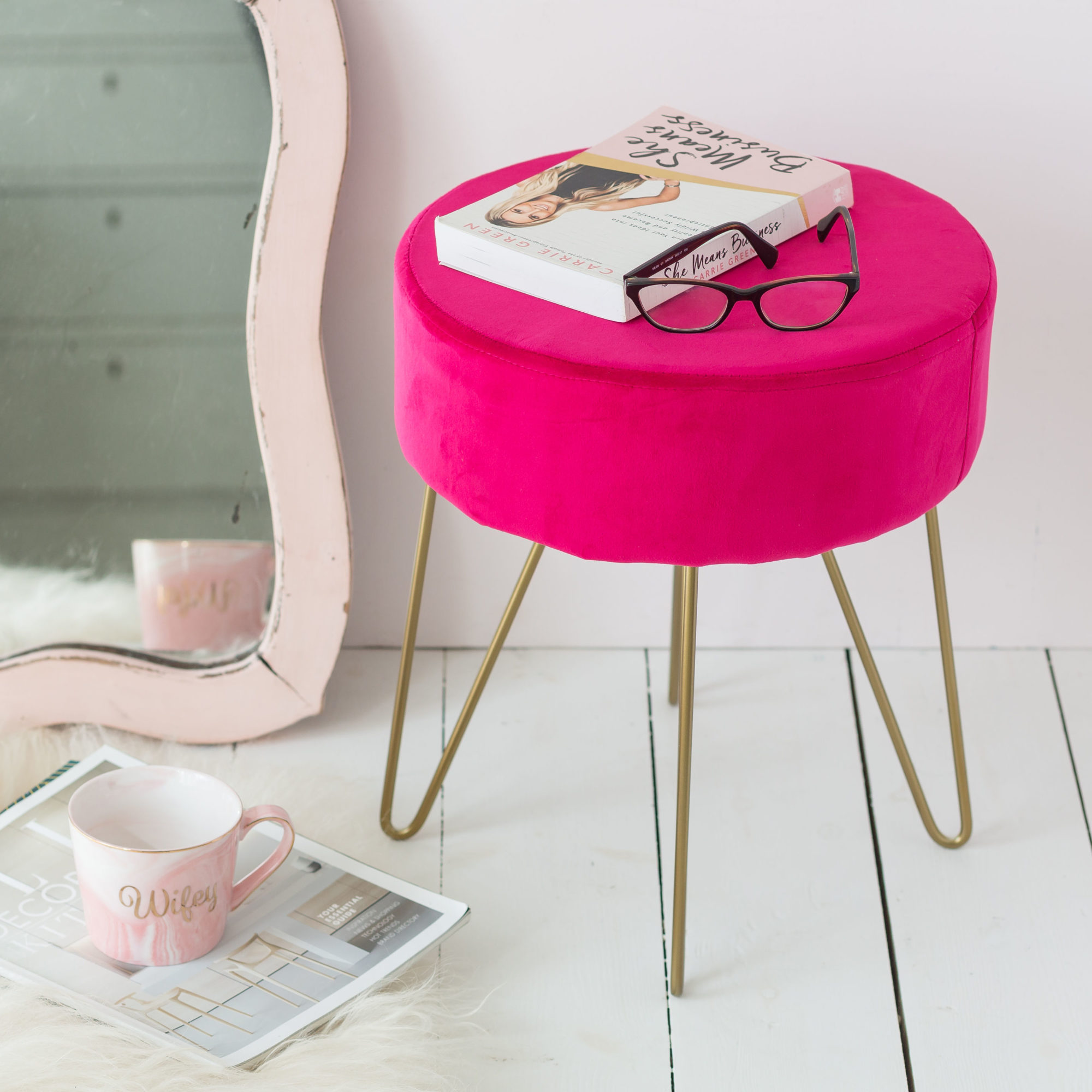 Hot Pink Stool With Gold Legs