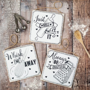 Set Of Three Kitchen Slogan Wooden Signs