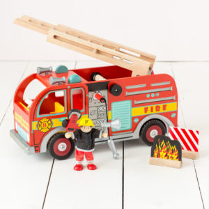 Bright Wooden Fire Engine Play Set
