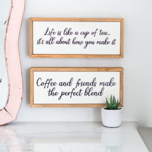 Ceramic & Wood Tea Or Coffee Framed Sign
