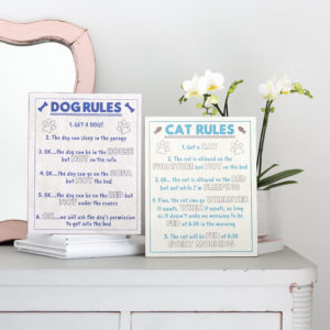 Wooden Dog Or Cat Rules Plaque