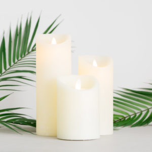 Cream Dancing LED Flame Candle with Timer