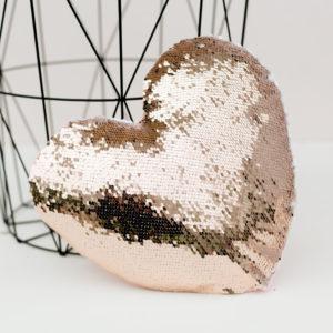 Rose Gold & White Reversible Sequin Heart Cushion