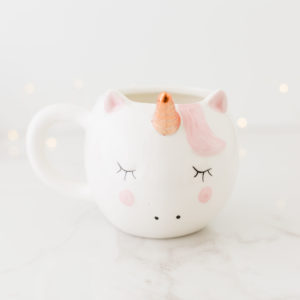 White & Rose Gold Unicorn Mug