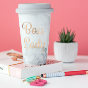 Grey Marble Boss Lady Ceramic Travel Mug
