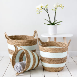 Set Of Three Green Striped Wicker Baskets