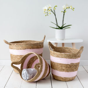 Set Of Three Pink Striped Wicker Baskets
