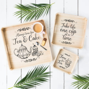Set Of Three Time For Tea Wooden Trays