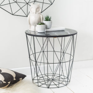 Black Geometric Wire Round Side Table – Black Marble Top