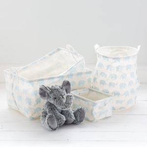 Blue Elephant Fabric Storage Baskets