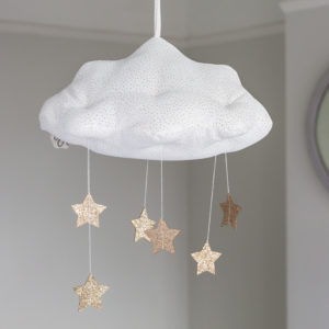 White Corduroy Hanging Cloud With Stars