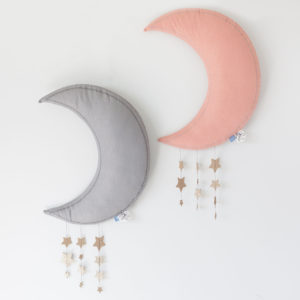 Grey Or Pink Hanging Moon With Stars