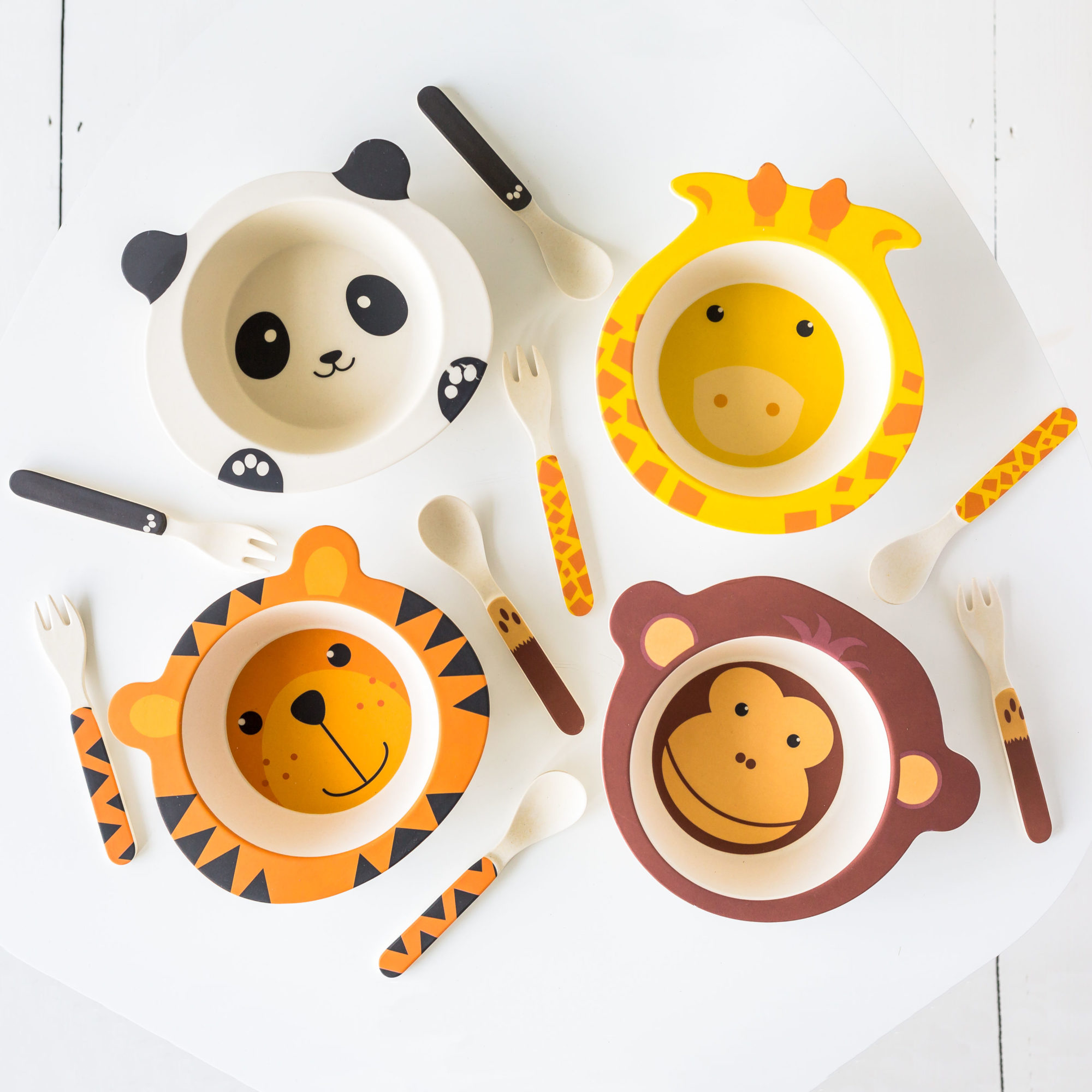 Animal Face Bowl Fork & Spoon Set