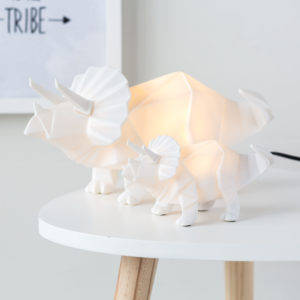 Triceratops White Dinosaur Night Light with Plug