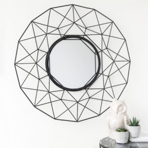 Black Geometric Round Metal Mirror