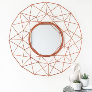 Rose Gold Geometric Round Metal Mirror