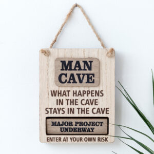 Man Cave Rotating Wooden Sign