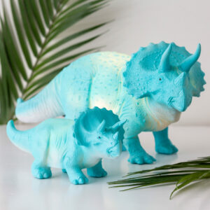 Small Turquoise Triceratops Dinosaur Lamp