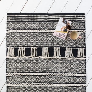 Black Aztec Fringed Rug