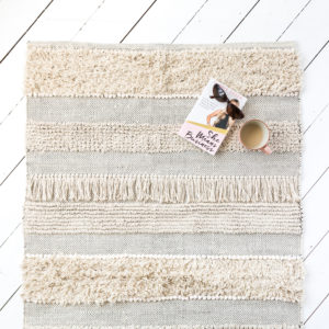 Cream Aztec Fringed Rug