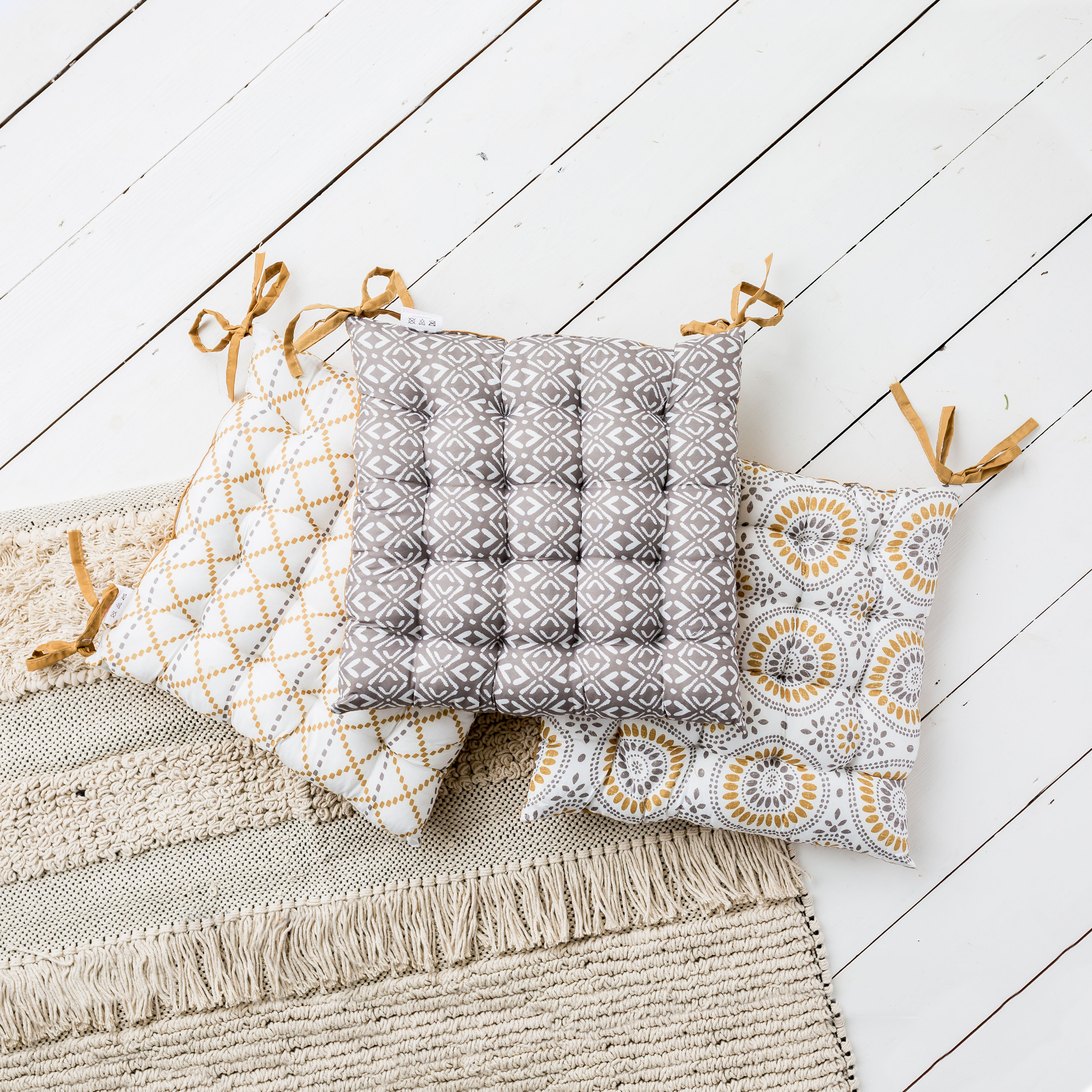 Grey and Mustard Seat Pad Assortment