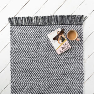Black & White Fringed Rug