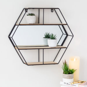 Black Hexagon Shelf With Mirror