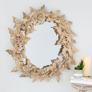 Large Gold Butterfly Mirror