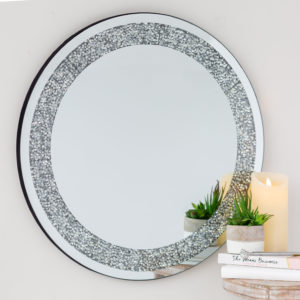 Large Mirrored Gem Round Mirror