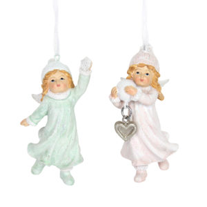Set Of Two Fairy Girls Christmas Decorations