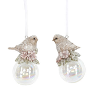 Christmas Bird On Bubble Decorations