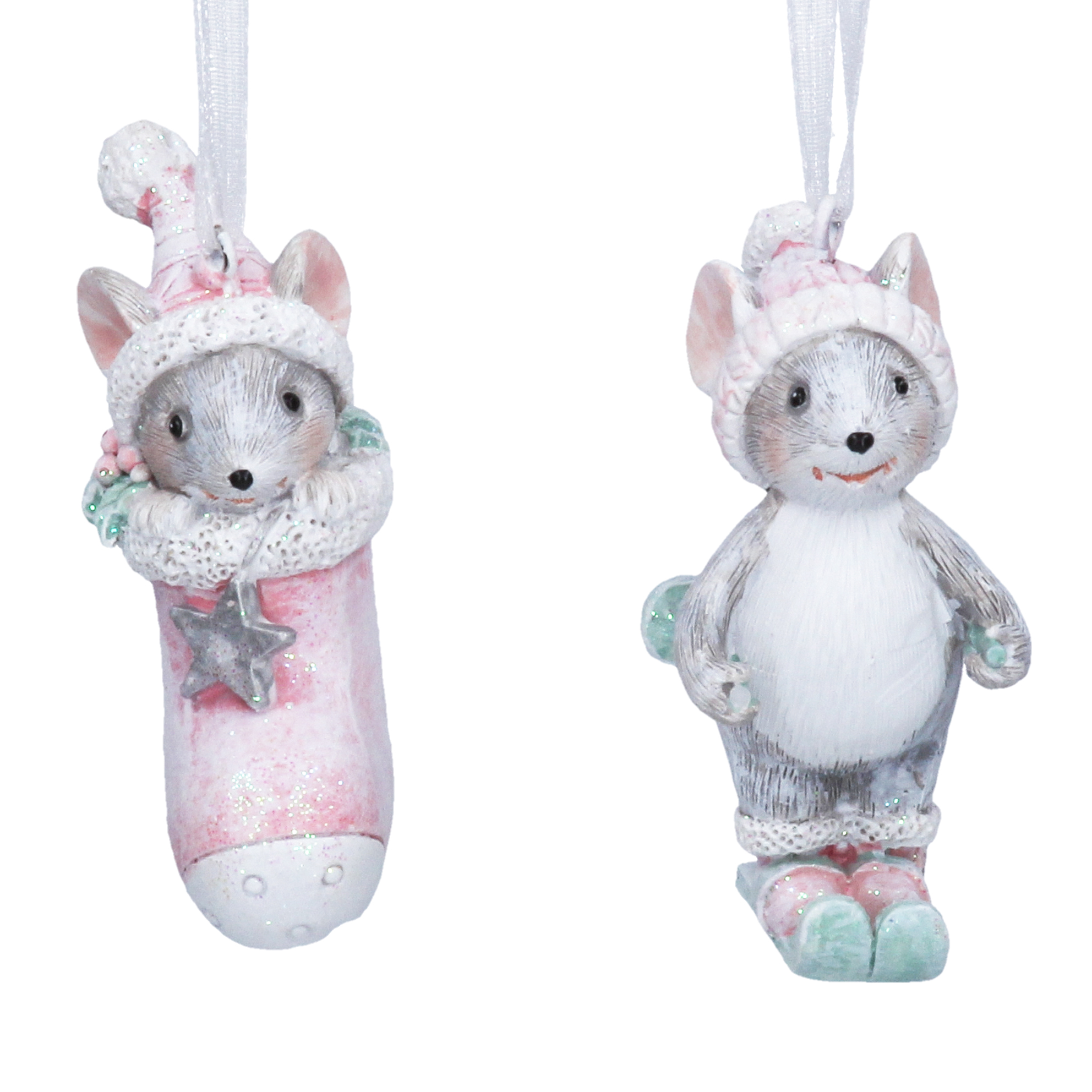 Silver & Pink Mouse Decoration Set Of Two