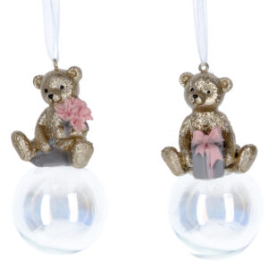 Set Of Two Gold Teddy On Bubble Decorations