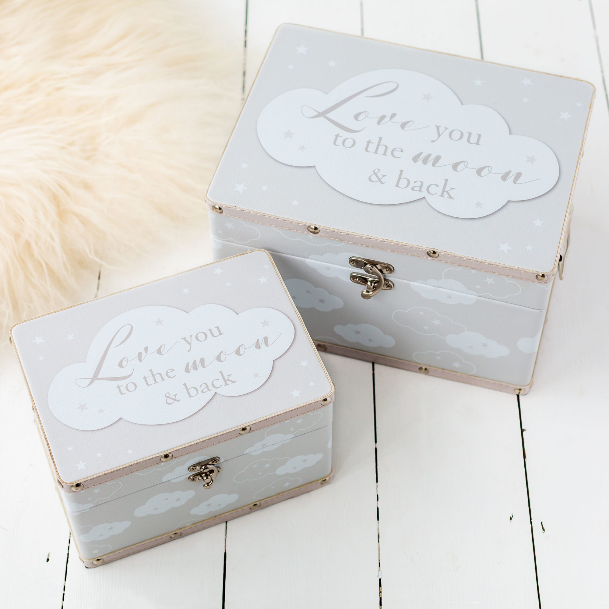 Love You To The Moon Set Of Two Storage Boxes
