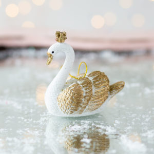 Christmas Gold & White Glitter Swan