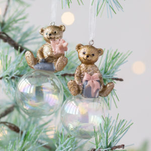 Set Of Two Gold Teddy Decorations