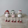 Set of 3 Shelf Sitting Owls with Red & Green Hats