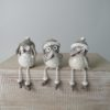 Set of 3 Shelf Sitting Owls with Grey Hats