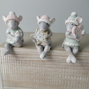 Set of 3 Christmas Shelf Sitting Mice