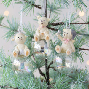 Set Of Three Teddy On Bubble Decorations