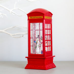 Snowman Red London Telephone Lantern