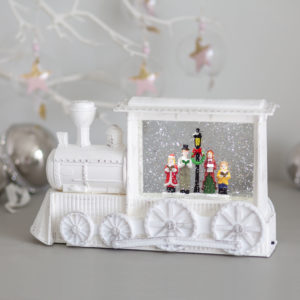 White Vintage Christmas Glitter Train Lantern