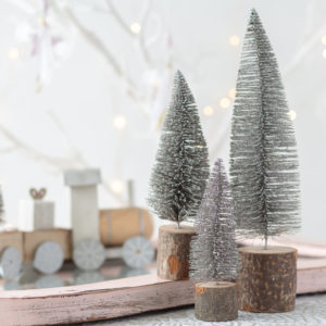 Set Of 3 Silver Glitter Christmas Trees