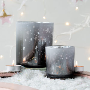 Glitter Effect Snowflake Tealight Holders